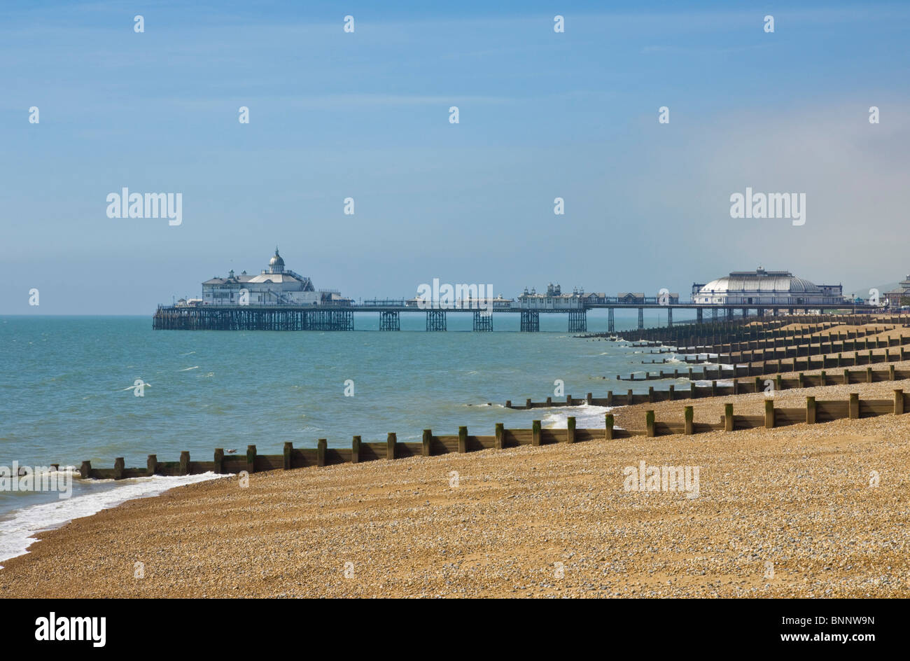 Pebble Beach und Buhnen, Eastbourne Pier in der Ferne, Eastbourne, East Sussex, England, GB, UK, EU, Europa Stockfoto