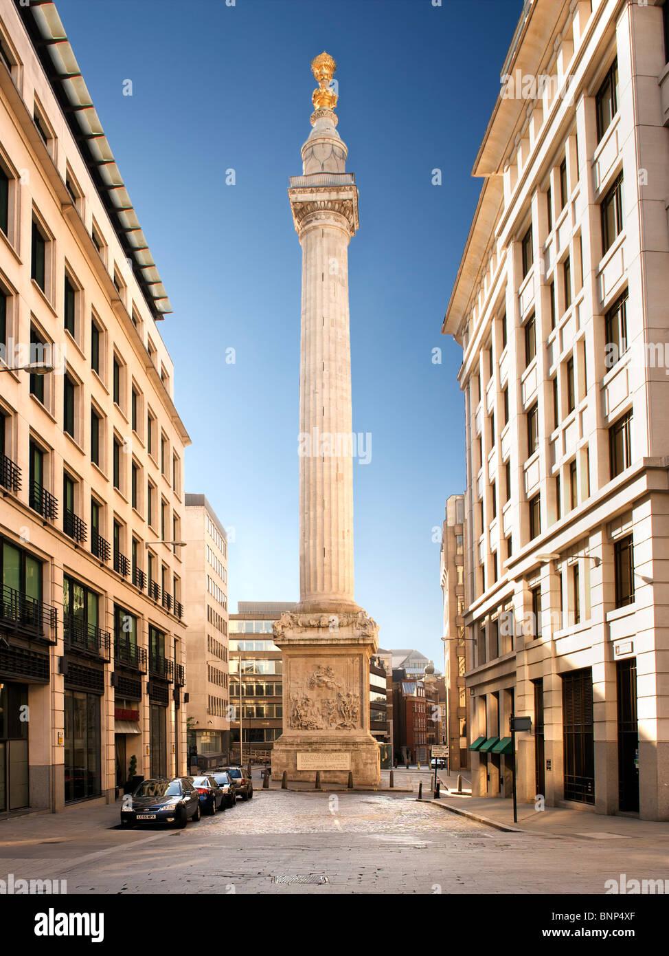 Denkmal zum Gedenken an den großen Brand von London im Jahre 1666. Stockbild