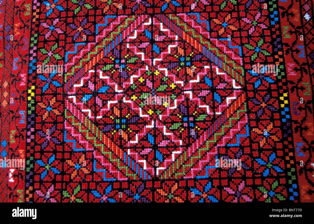 Alten Bethlehem Folklore Museum der arabische Frauen Union. Traditionelle palästinensische Stickerei Stockbild
