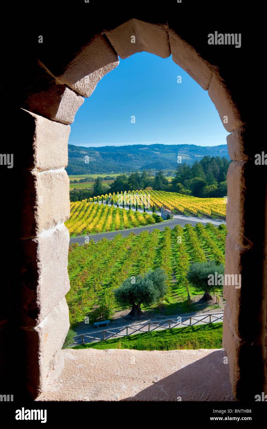 Blick durch Schlossfenster in Castello di Amorosa. Napa Valley, Kalifornien. Eigentum freigegeben Stockbild