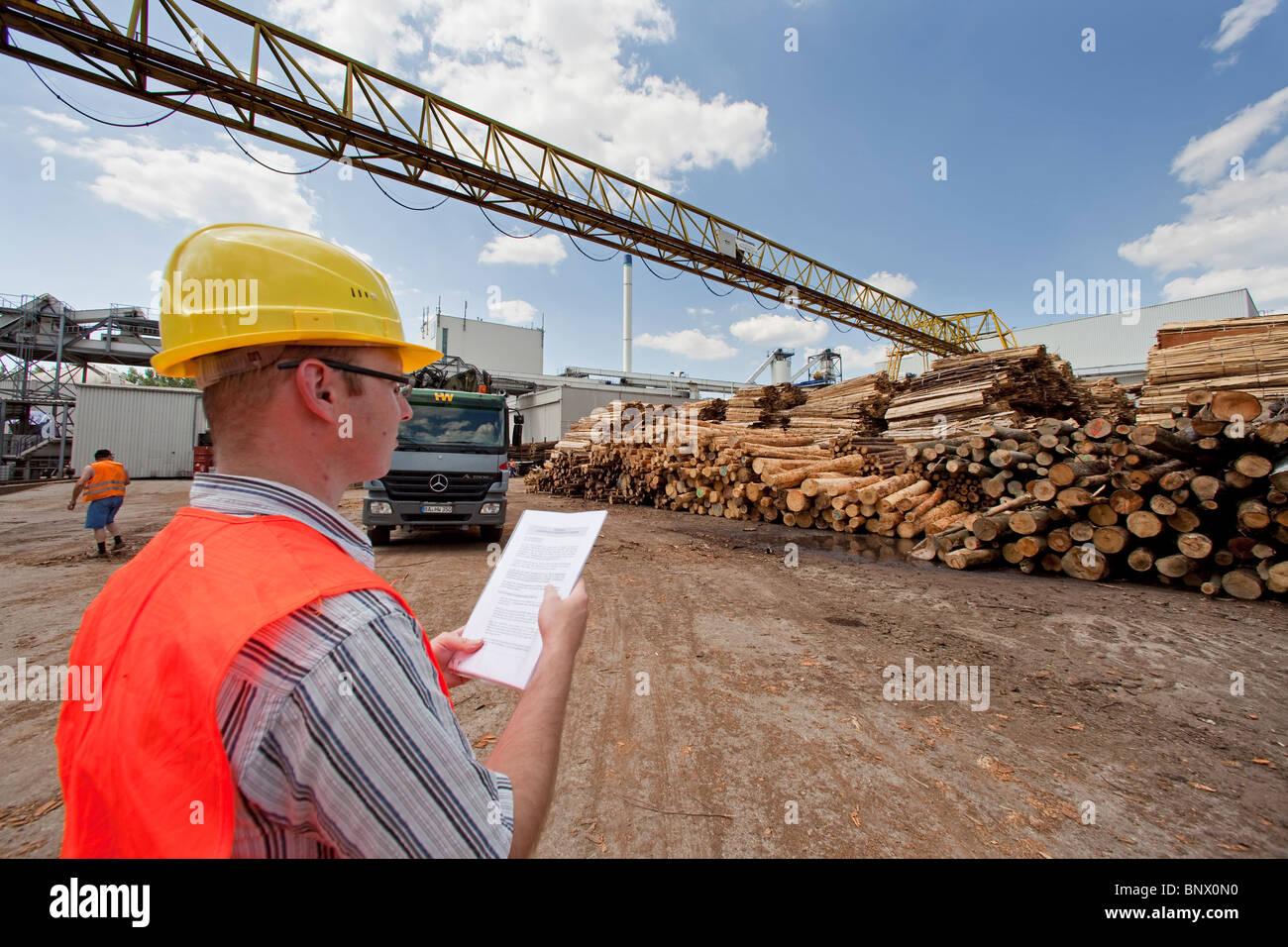 Pfleiderer AG Unternehmen, Produktionsstätte für Spanplatten, Arbeiter in Schutzkleidung vor aufgestapelt Stockbild