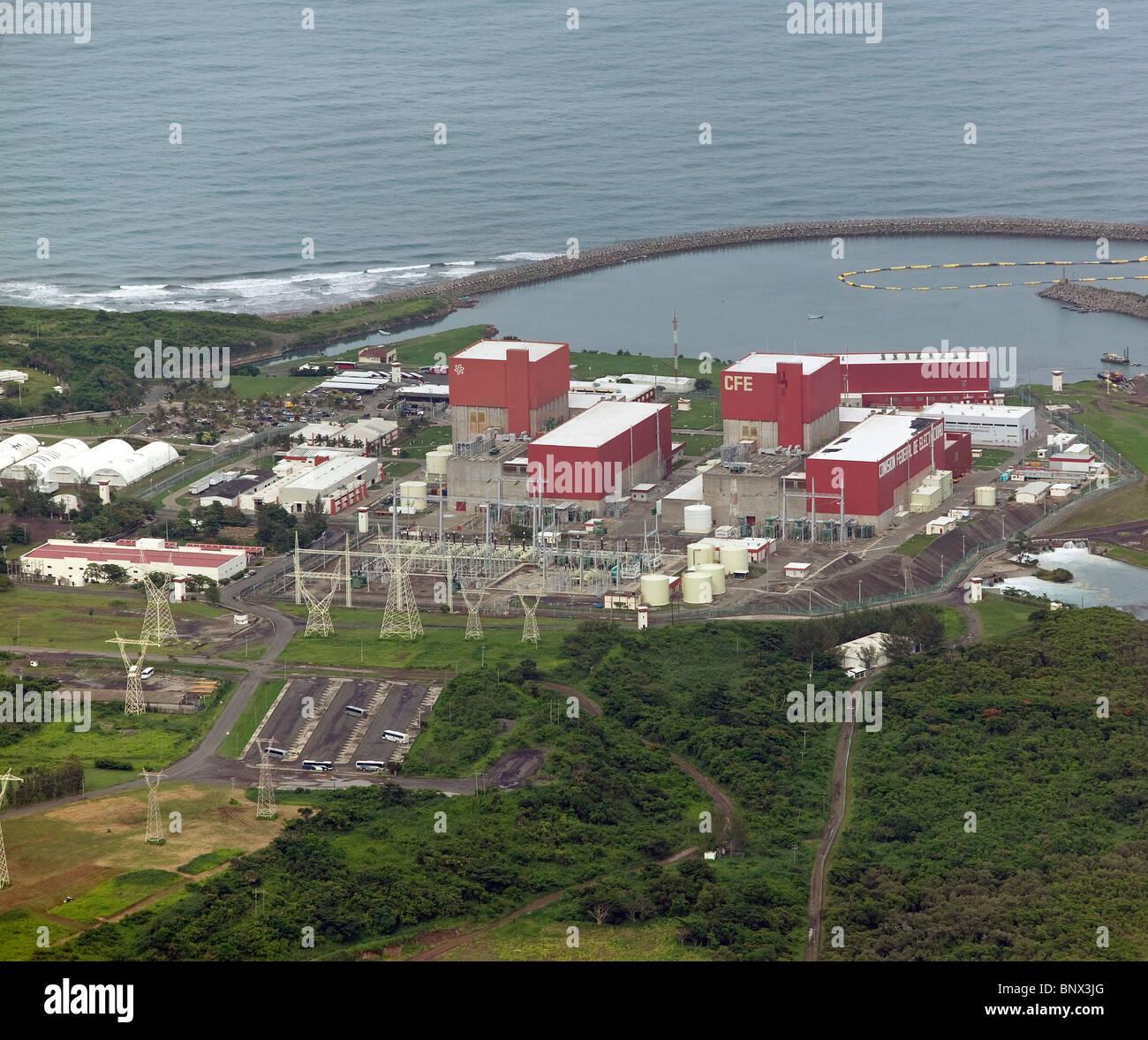 Luftaufnahme über Kommission Federal de Electricidad Strom Kraftwerk Golfküste Mexiko Stockbild