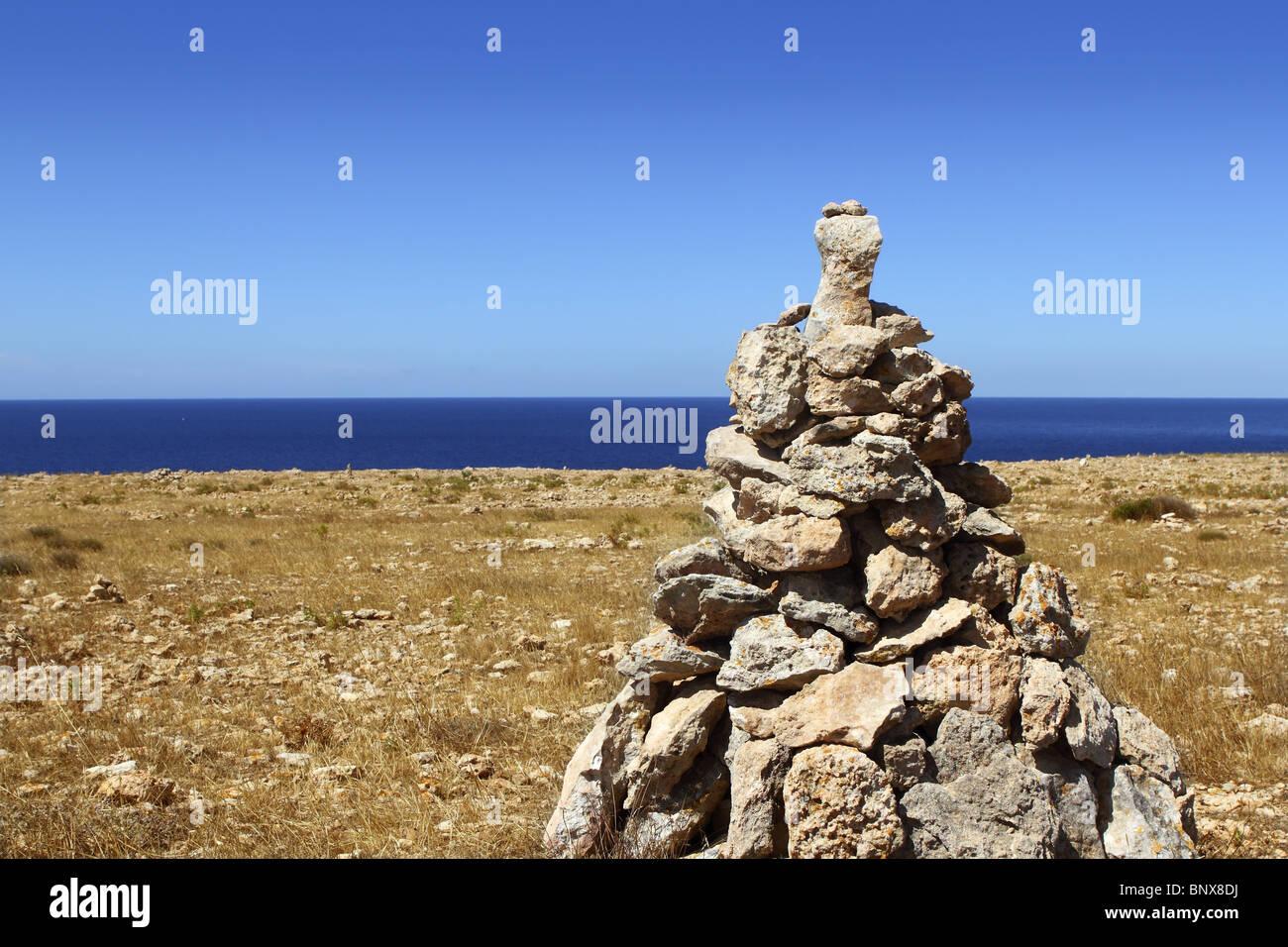 Wunsch-Steinen, wünsch dir was den Wind bringt es Insel Formentera Stockfoto