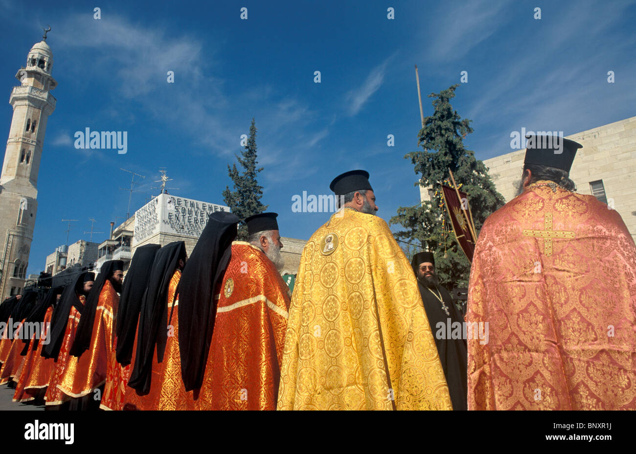 bethlehem greek orthodox christmas ceremony stockfotos. Black Bedroom Furniture Sets. Home Design Ideas