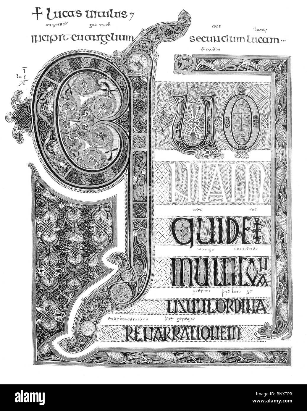 Schwarz und weiß-Abbildung; Lindisfarne Evangelien; Beleuchtung am Anfang des Evangeliums nach Lukas Stockbild