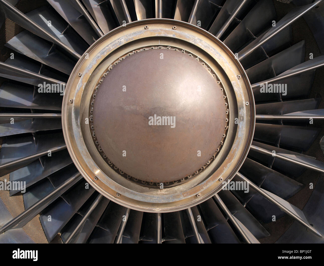 Vintage Jet-Engine Turbine. Detail des Rotors und klingen. Stockbild