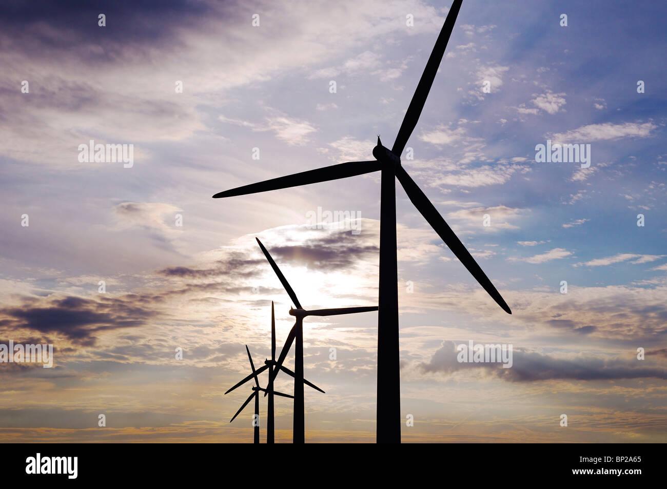 Windkraftanlagen, Watchfield, Vereinigtes Königreich. Stockbild