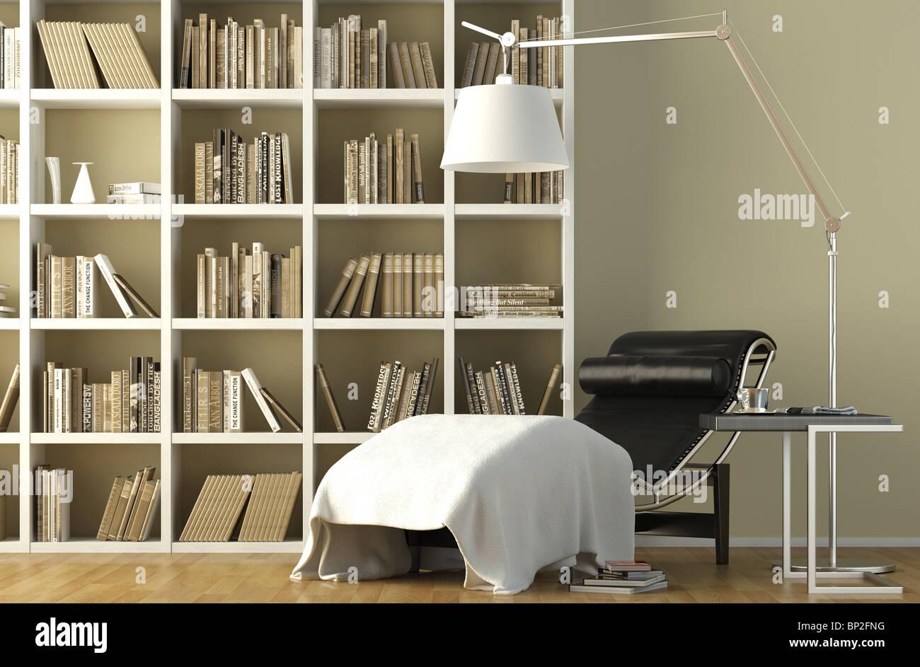 Modernes Interieur einer Lesung couch mit Lampe eine Bücher ...