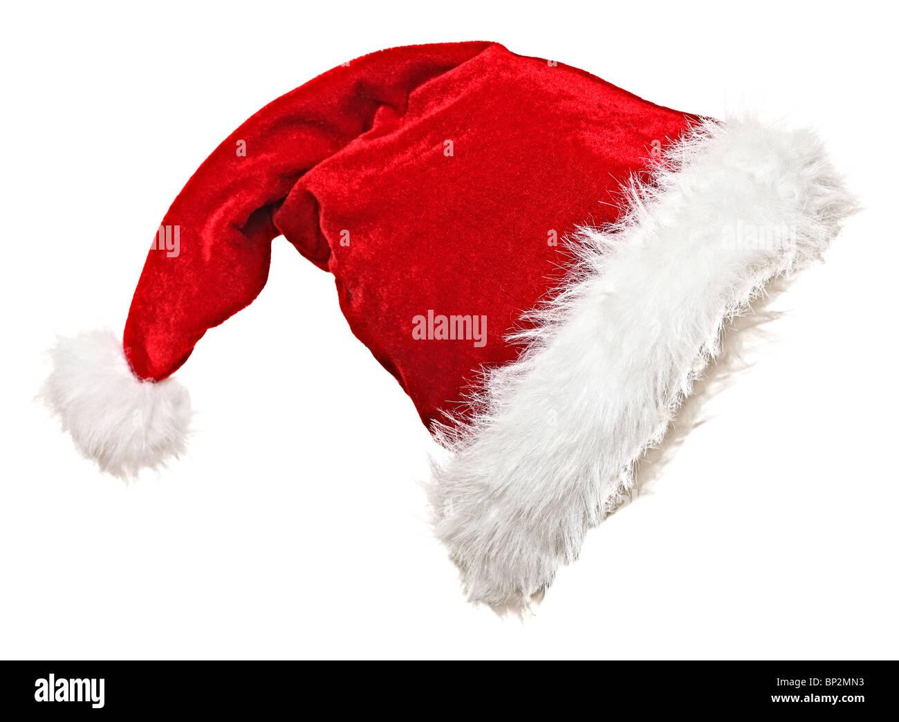 traditionellen weihnachtsmann m tze auf wei em hintergrund. Black Bedroom Furniture Sets. Home Design Ideas