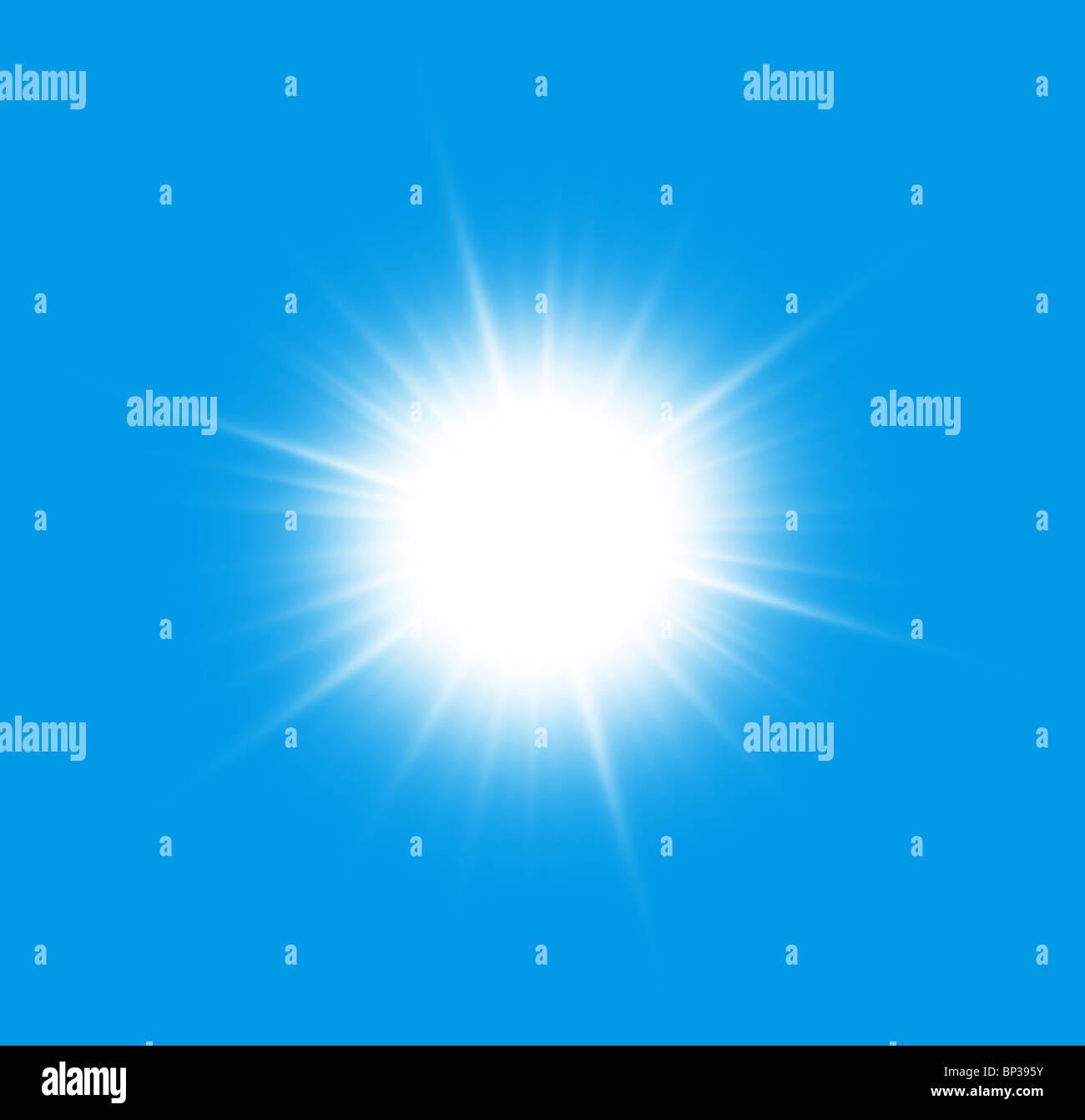 Nah an der Sonne auf blauem Grund. Stockbild