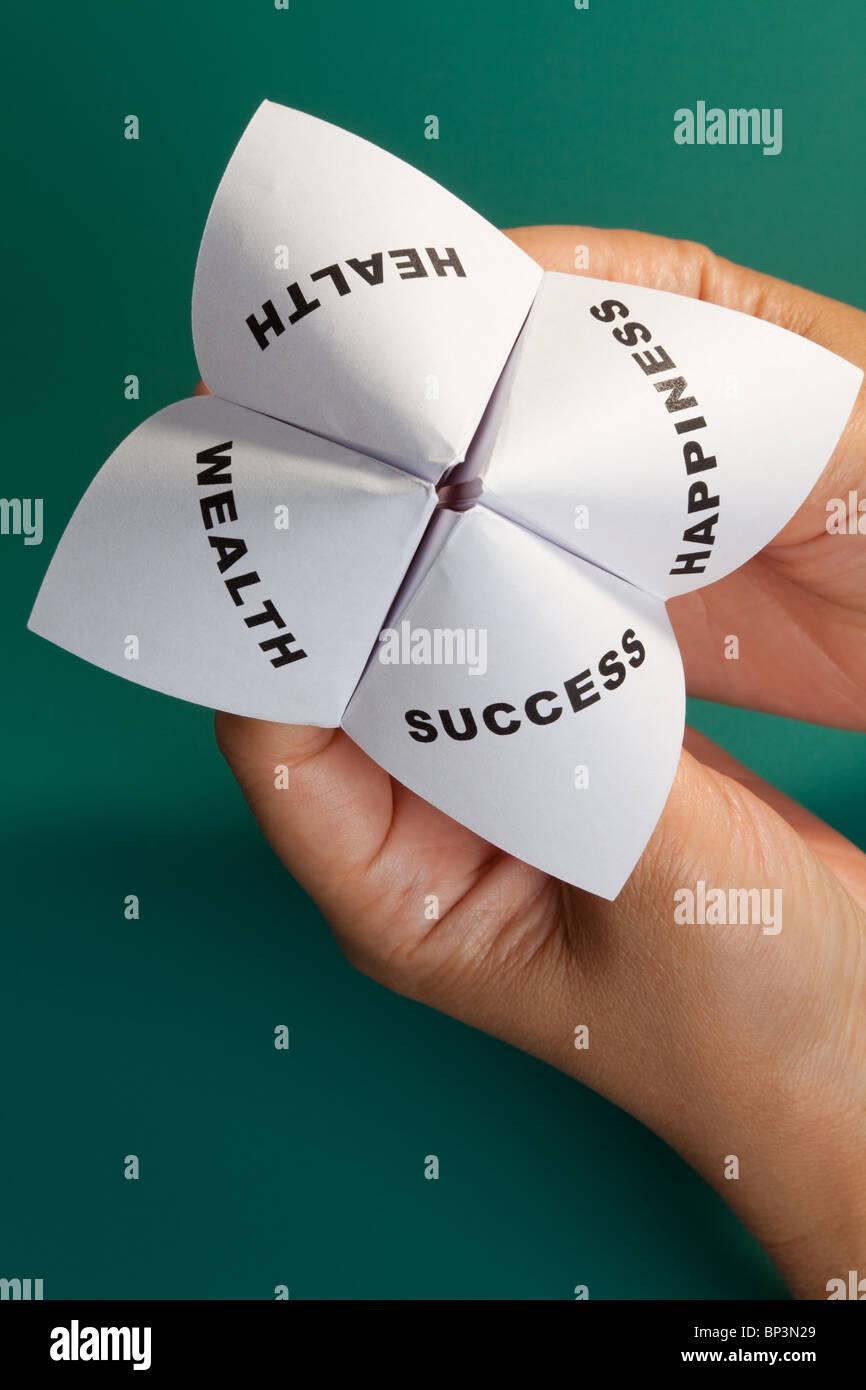 Papier-Wahrsagerin, Konzept der balance Stockbild