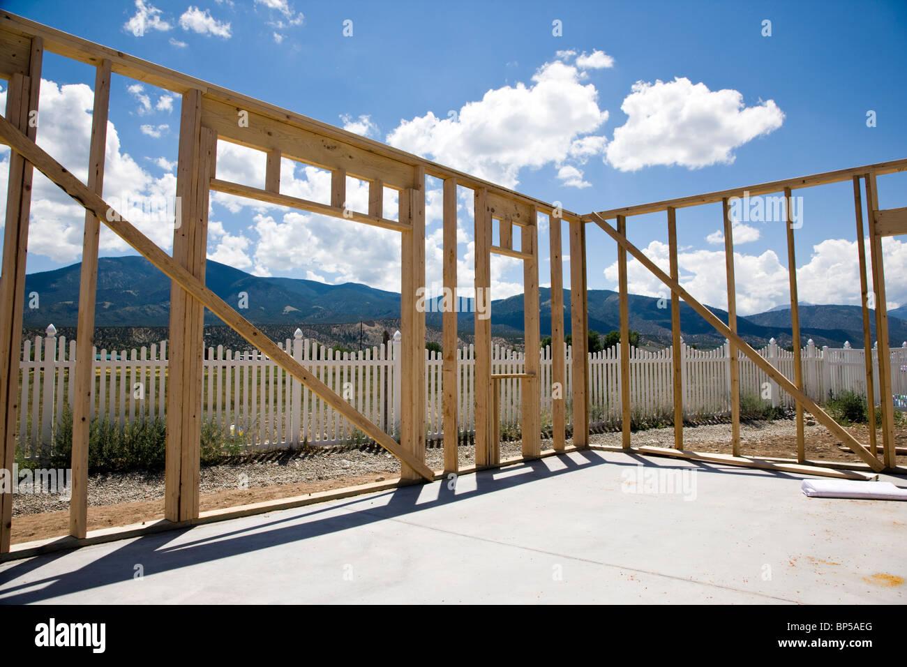 Bau von Craftsman-Stil Wohnhaus in Colorado, USA Stockbild