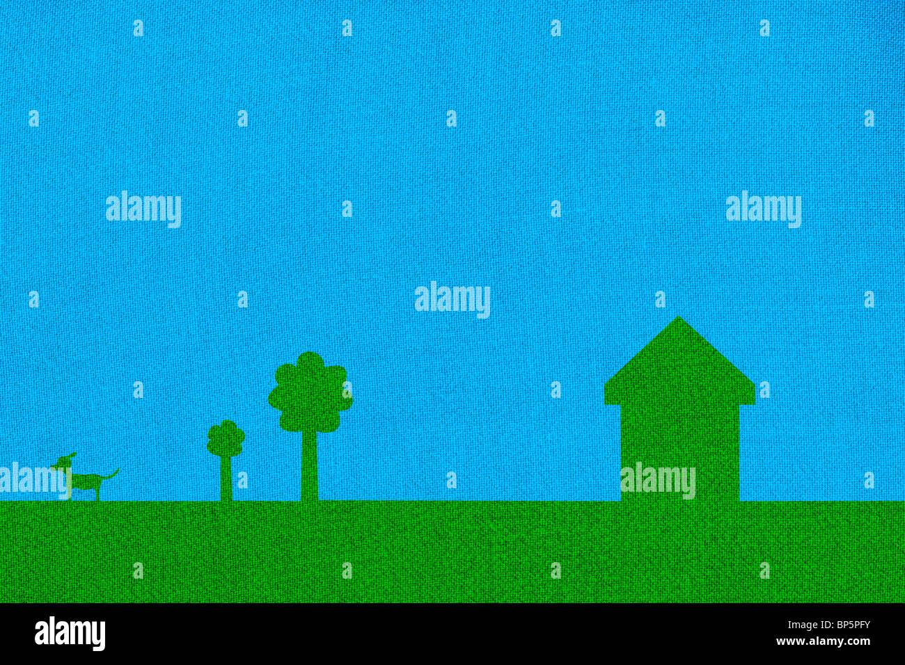 Farbige Gewächshaus mit Bäumen und Hund Stockbild
