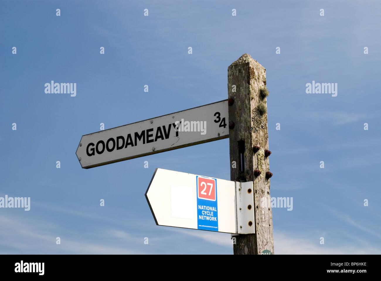Finger-Post, Goodameavy, Dartmoor. Stockbild
