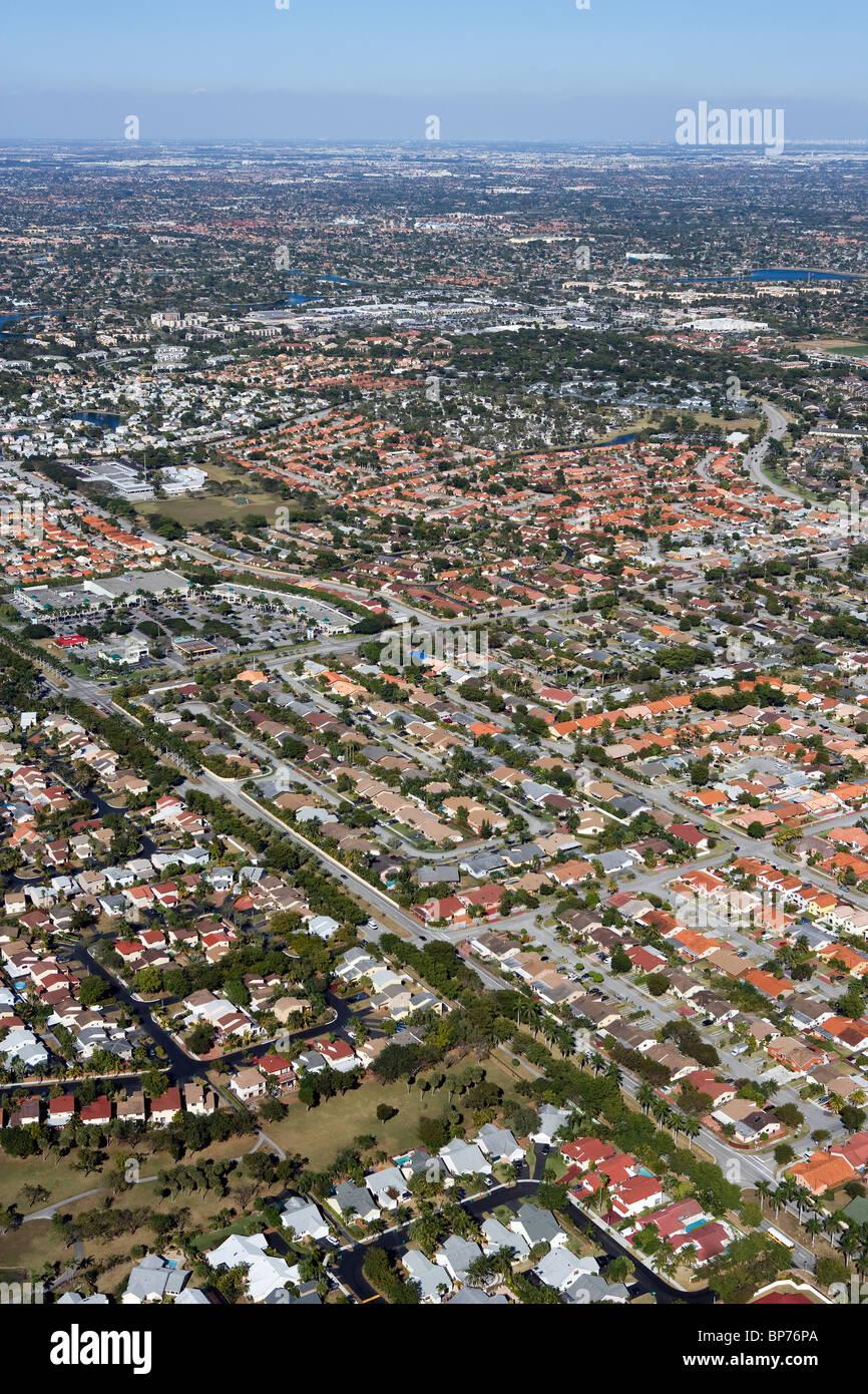 Luftaufnahme über Wohn-Vorort Miami Florida Stockbild