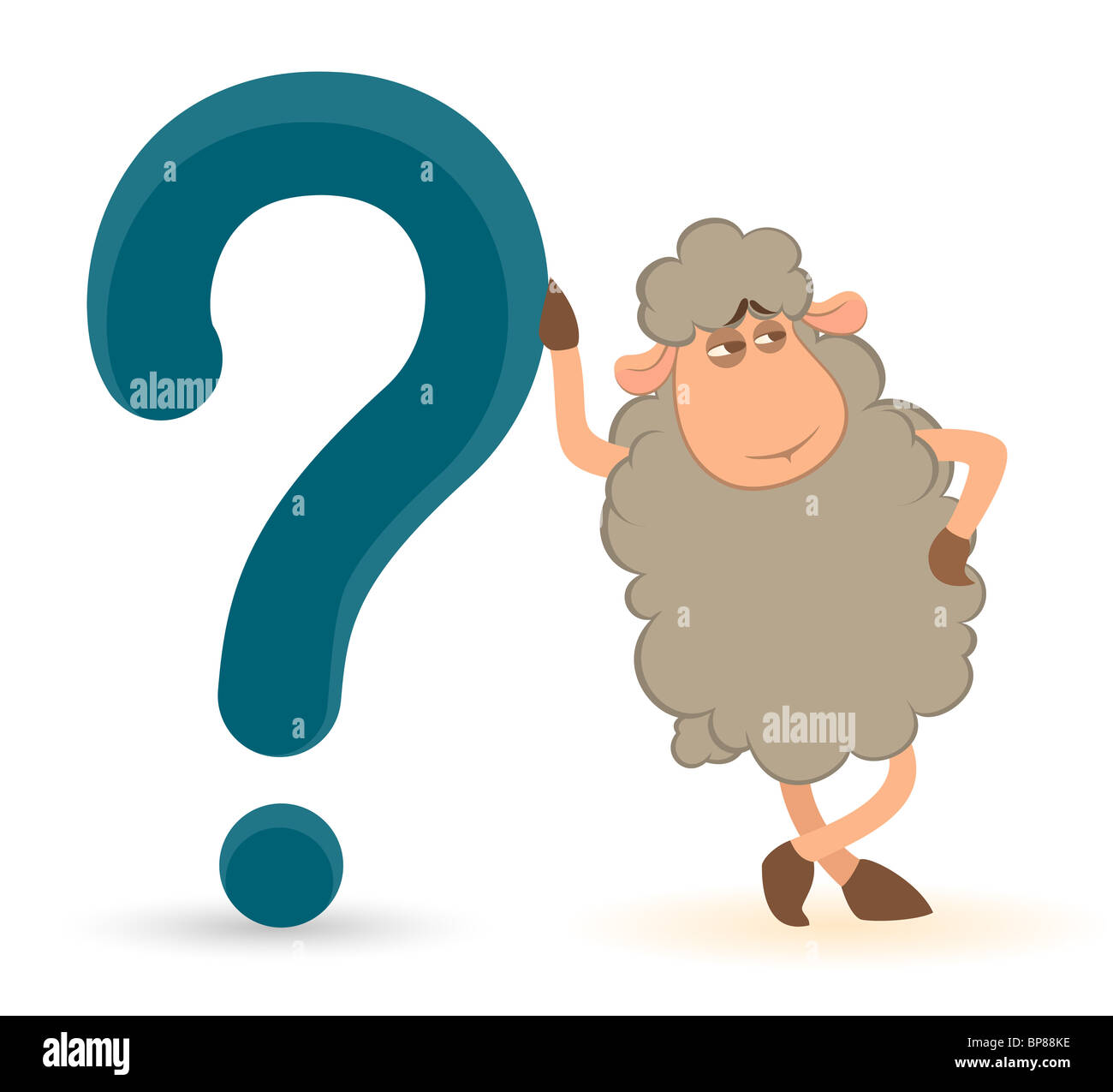 Cartoon-Schaf schiebt ein Fragezeichen auf weißem Hintergrund Stockbild