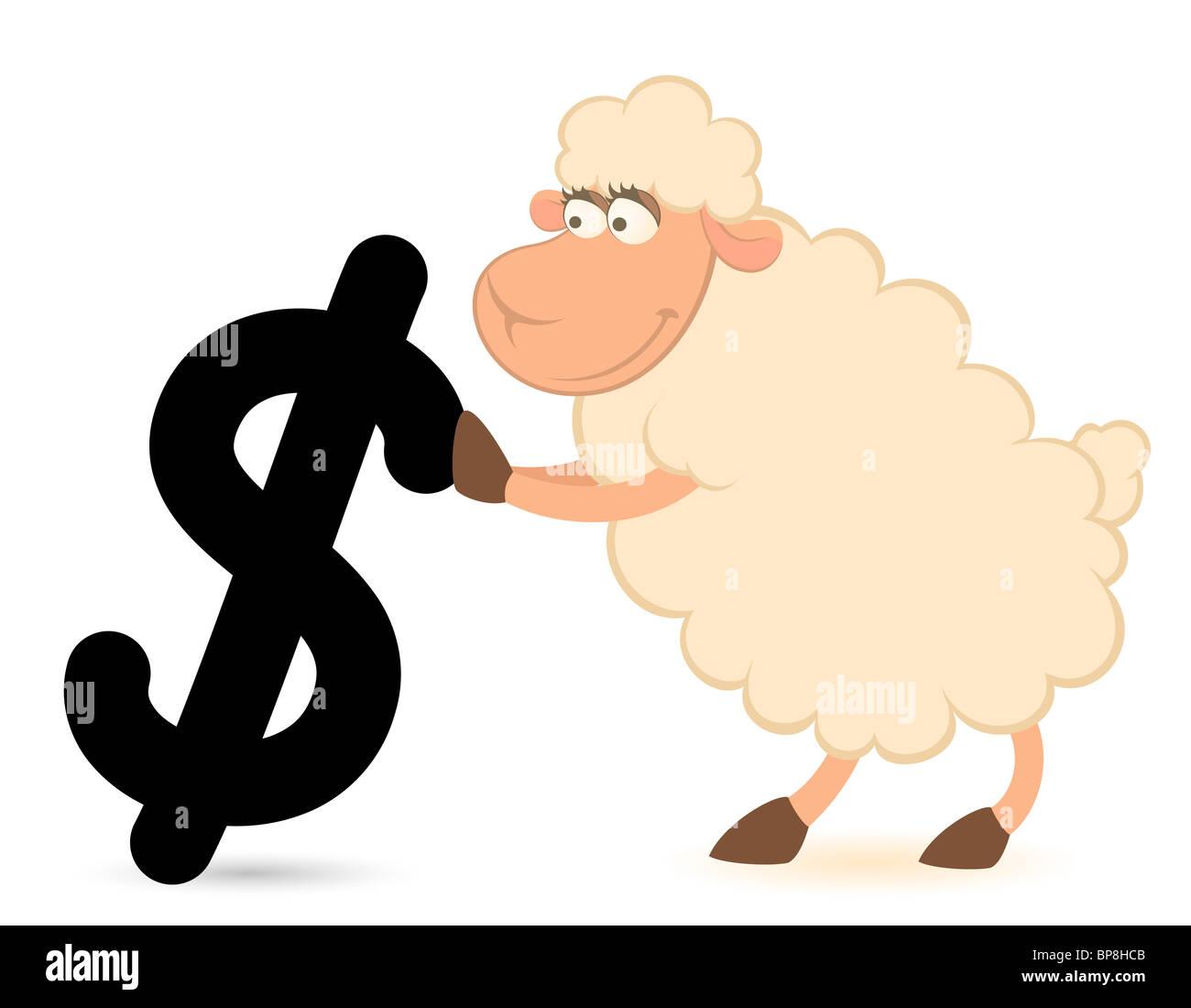 Cartoon-Schaf mit dem Zeichen des Dollar auf weißem Hintergrund Stockbild