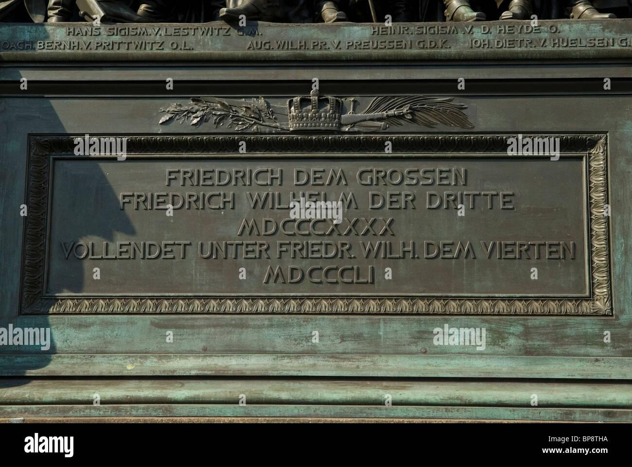 Gedenktafel von Friedrich Dem Grossen Denkmal Berlin Deutschland Stockbild
