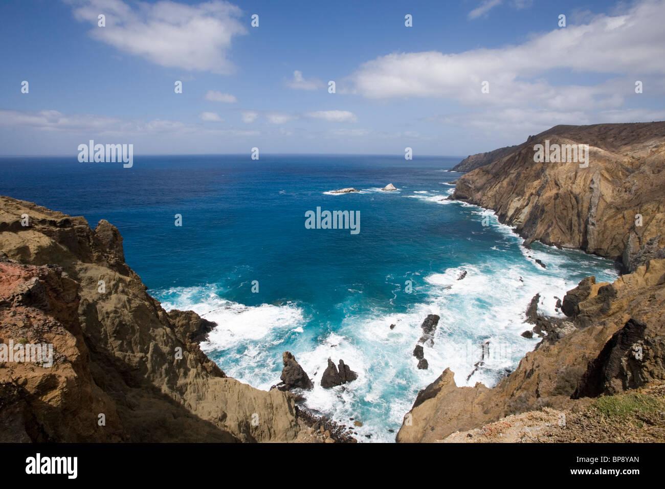 Küsten-Ansicht von Loch 13 auf Porto Santo Golfe Golf Course, Porto Santo, in der Nähe von Madeira, Portugal Stockbild