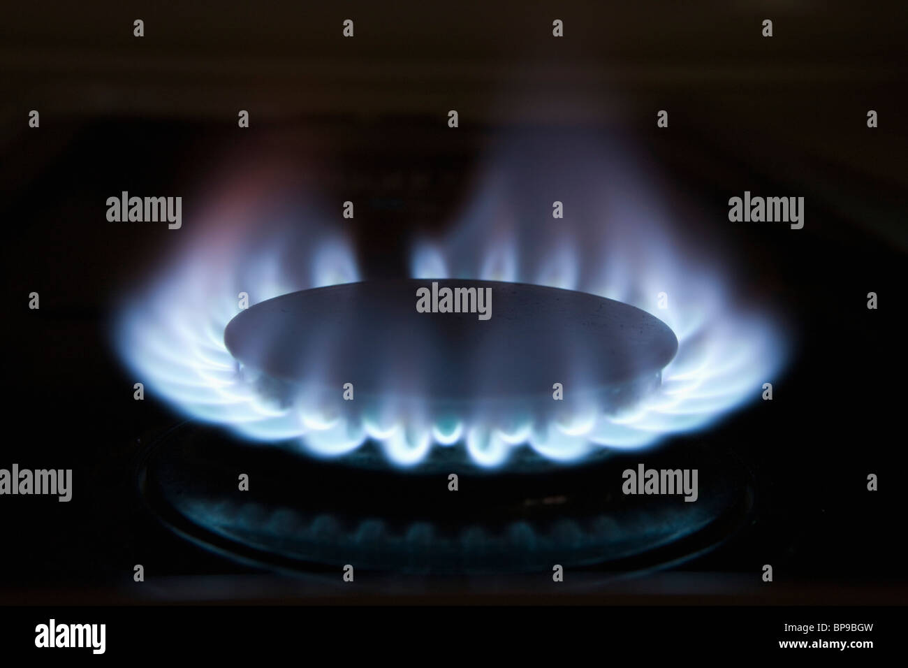 Gasbrenner mit blauen Flammen Stockbild