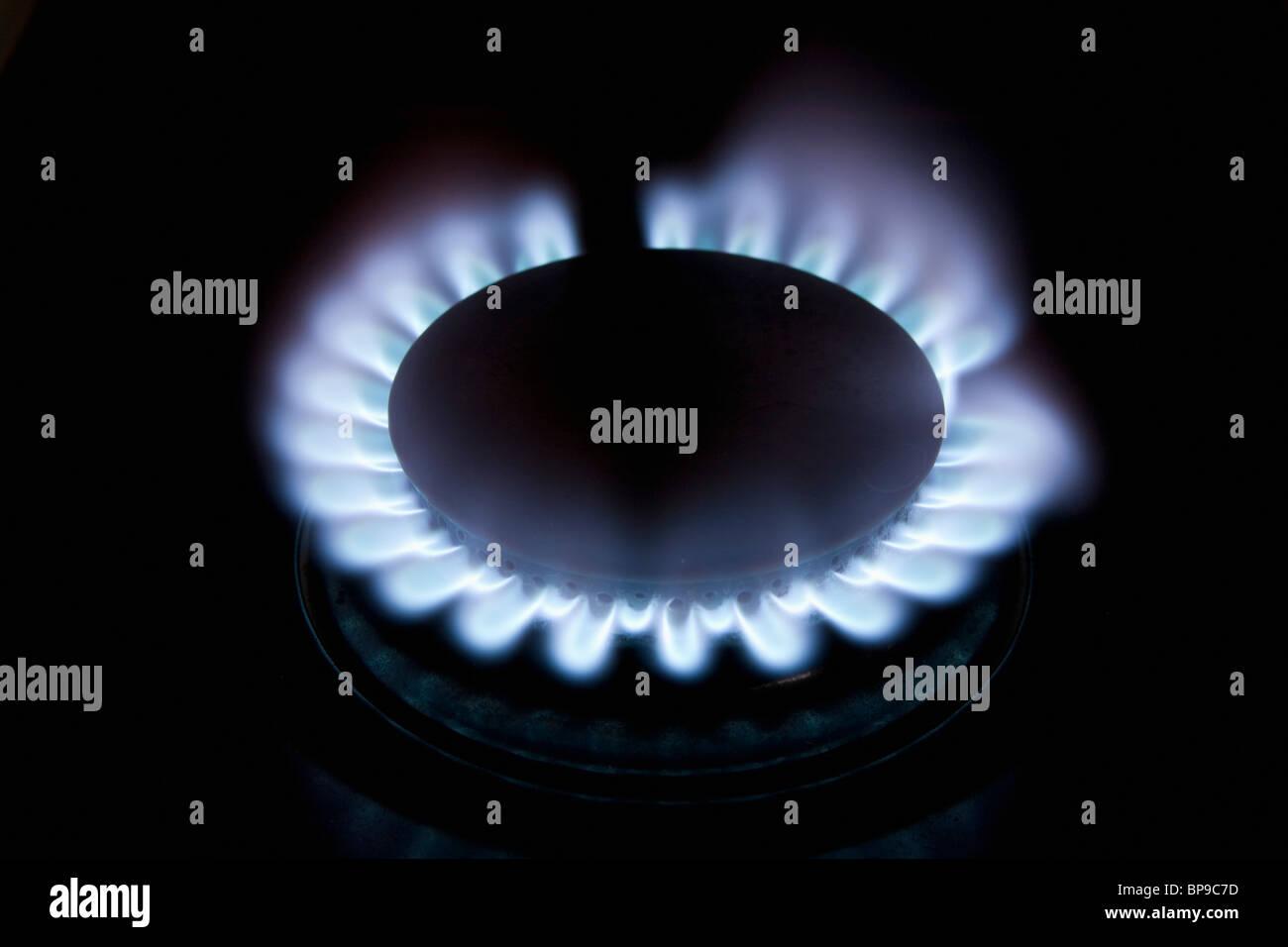 Gasbrenner mit blauer Flamme Stockbild