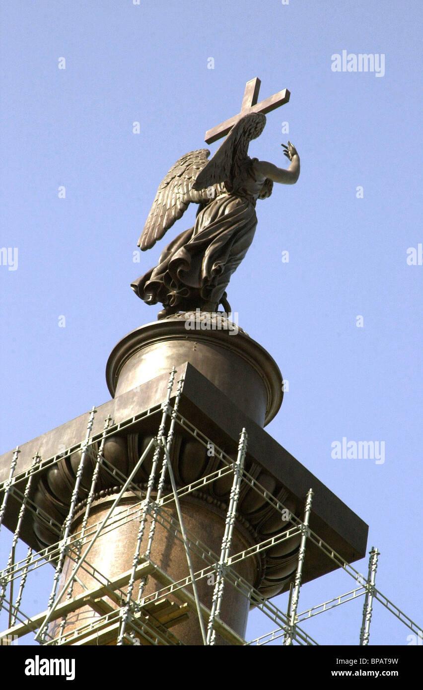 Rostoration aus Bronze, die Angel abgeschlossen ist Stockbild