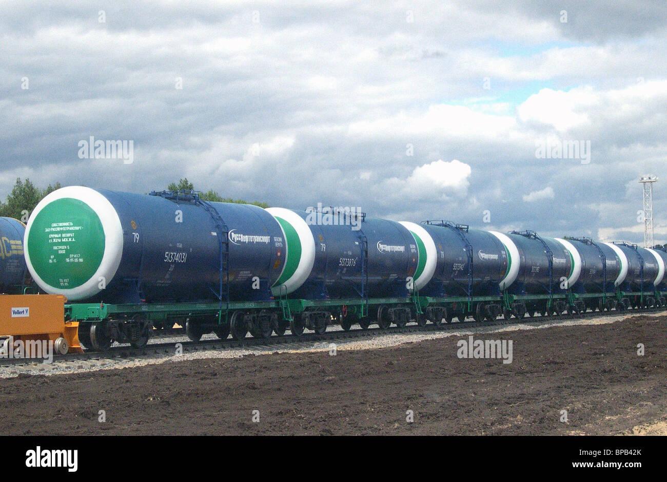 """RussNeft"" Oil Company nimmt in Betrieb ein neues Öl terminal in Brjansk Region Stockbild"