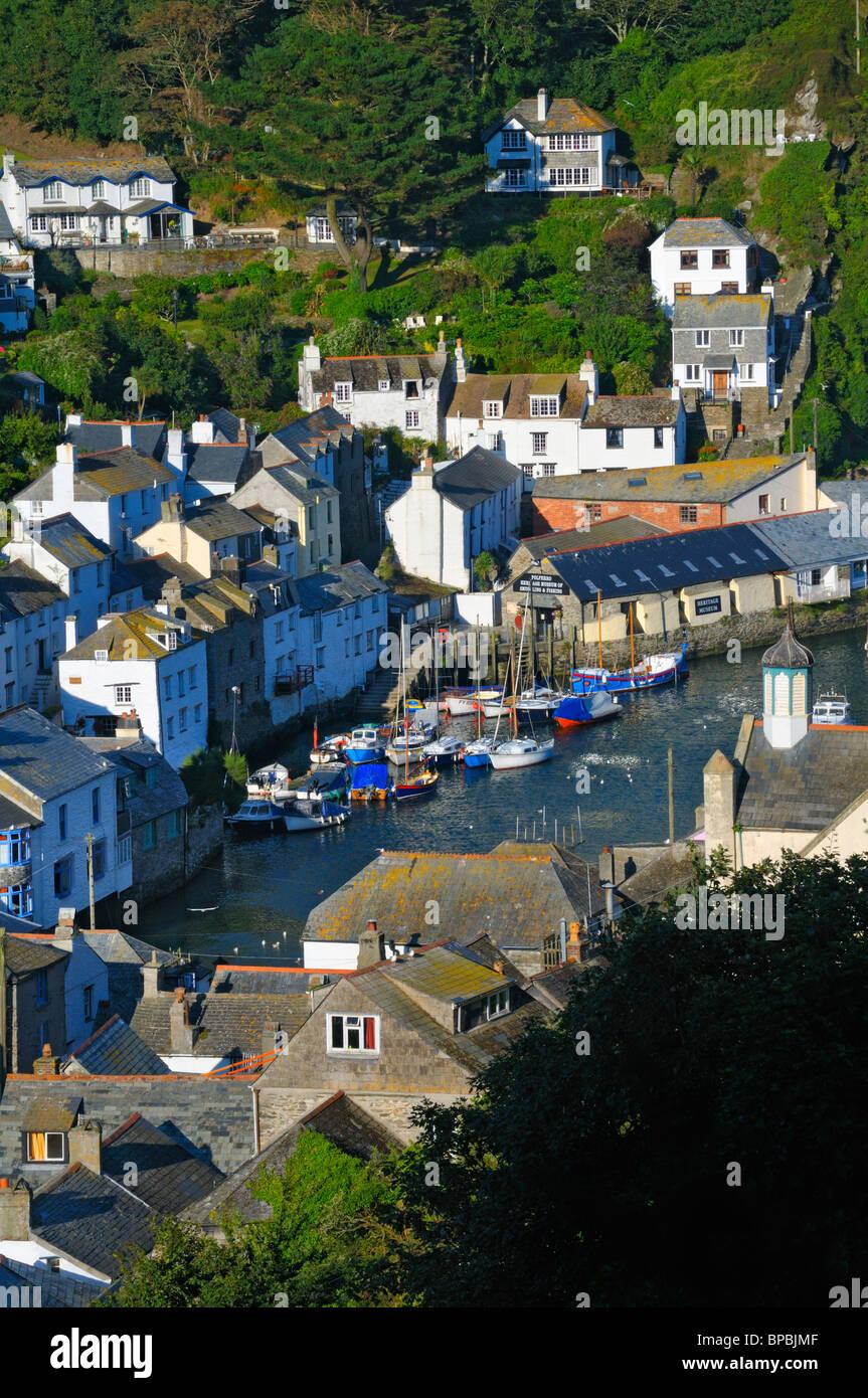 Erhöhten Aussichtspunkt Polperro, Cornwall, UK Stockbild