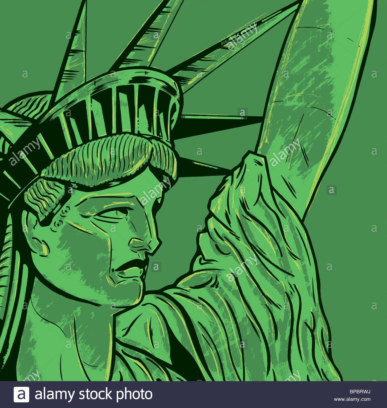 Liberty Statue Drawing Stockfotos & Liberty Statue Drawing Bilder ...