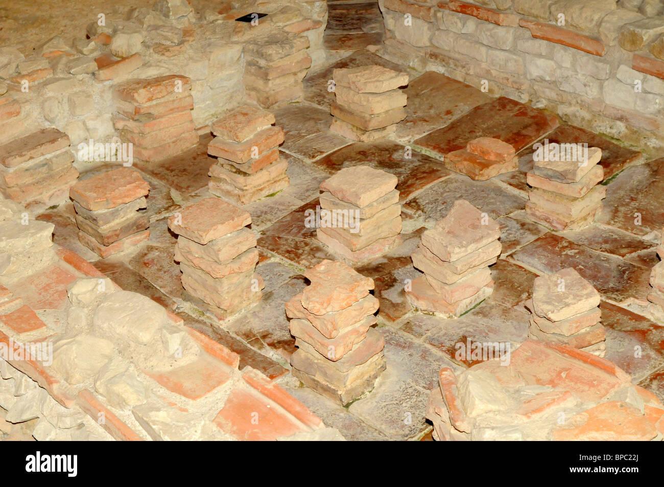 Hypokaustum an Fishbourne Roman Palace, Sussex, UK. Antike römische ...