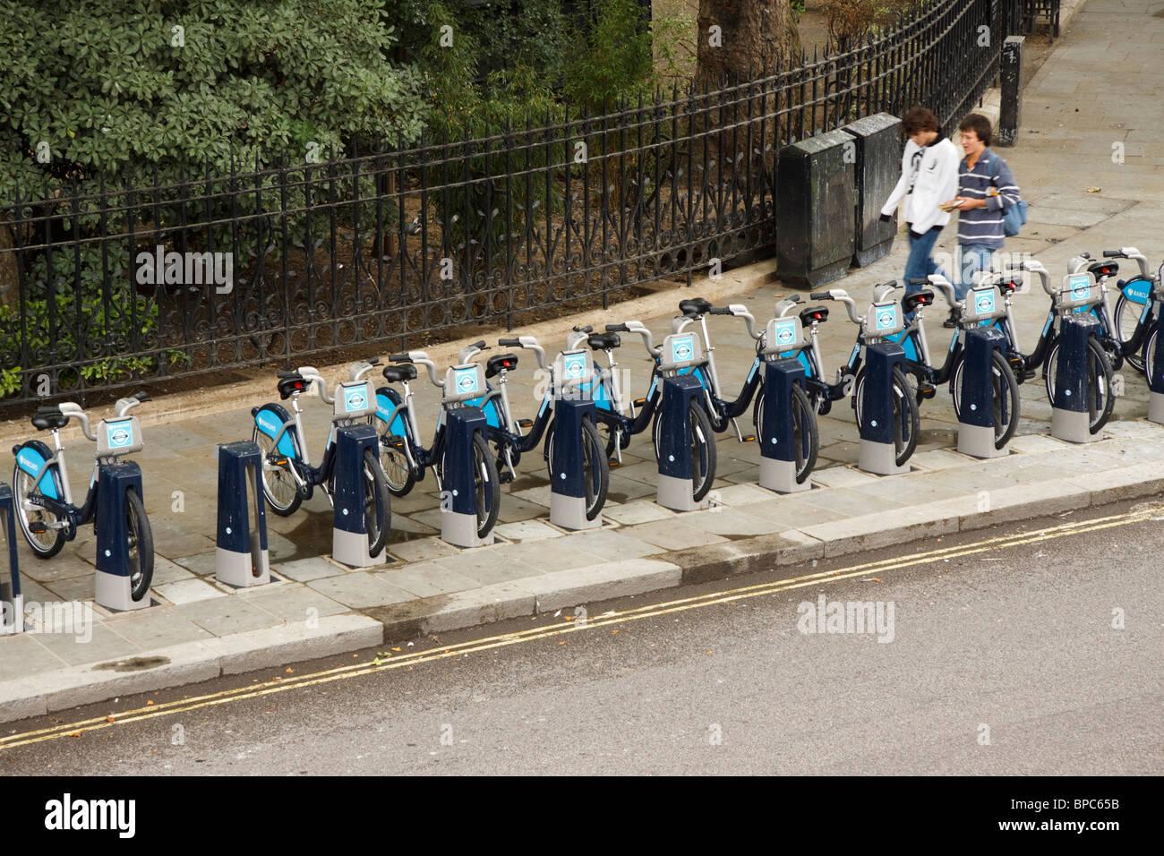 London-Zyklus Vermietung Schema, West End, London, England, UK Stockfoto