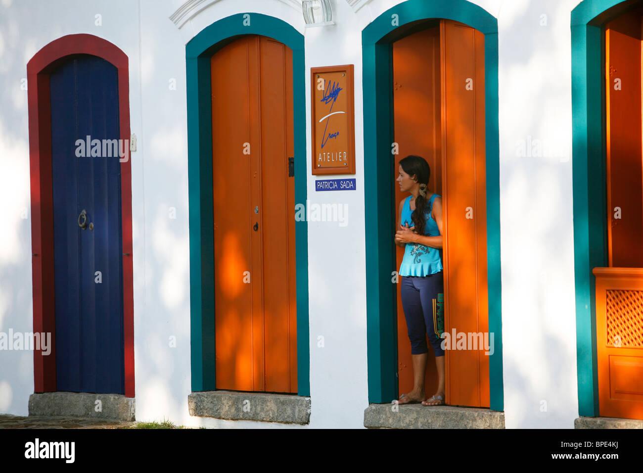 Typischen Häusern im Kolonialstil in der Altstadt von Parati, Bundesstaat Rio De Janeiro, Brasilien. Stockbild