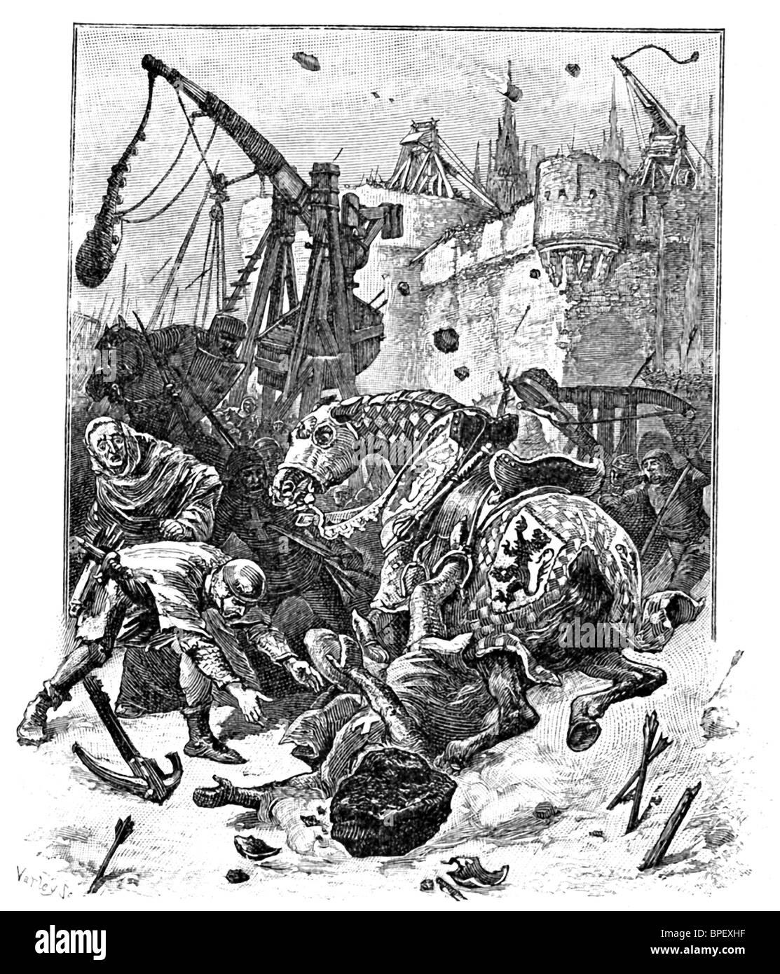 Eine mittelalterliche Festungsstadt in Italien unter Belagerung, mit beiden Armeen sind Ballisten. Stockbild