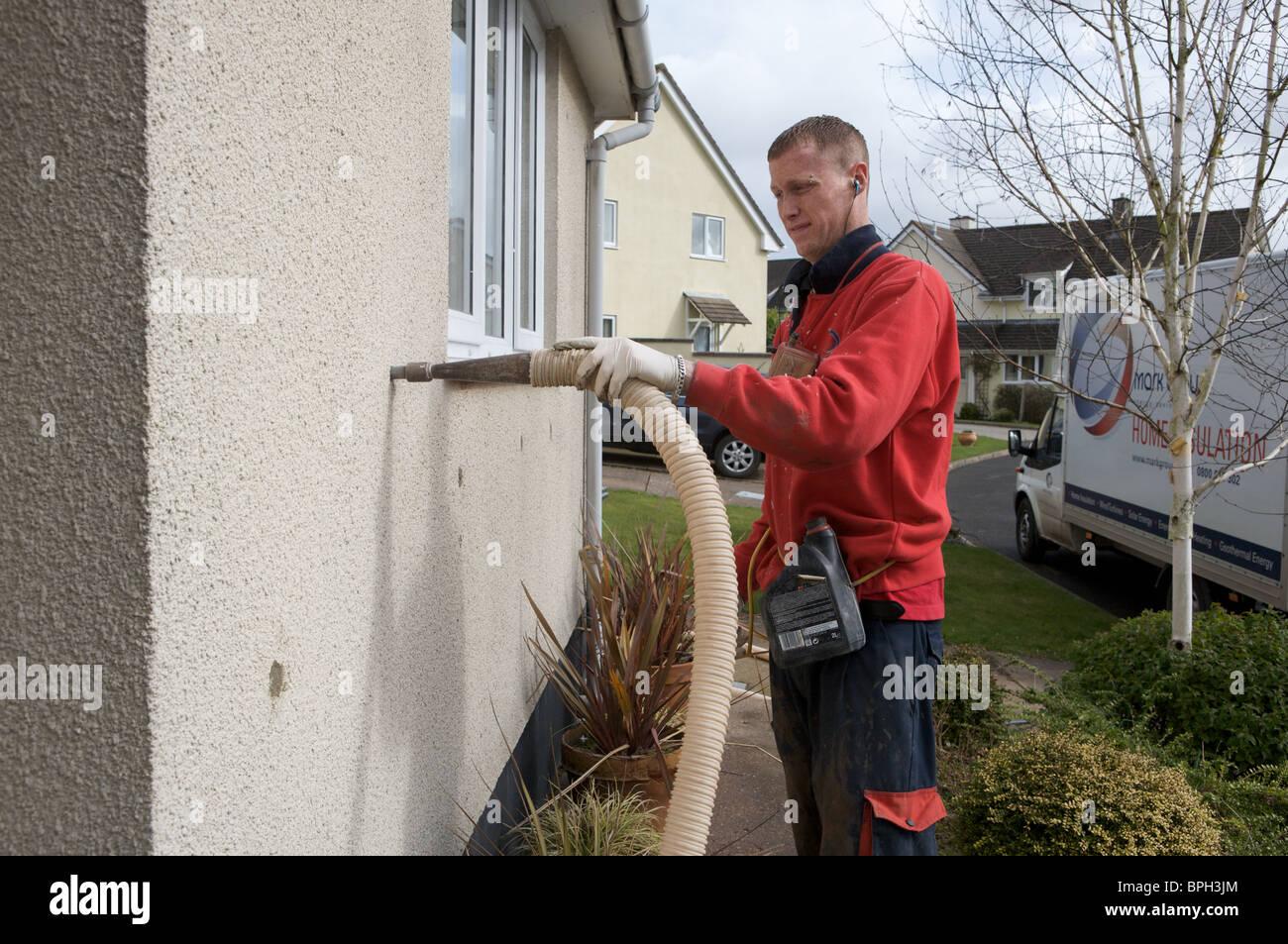 Mann Füllung Zweischalige Wand mit Wärmedämmung, Devon Stockbild