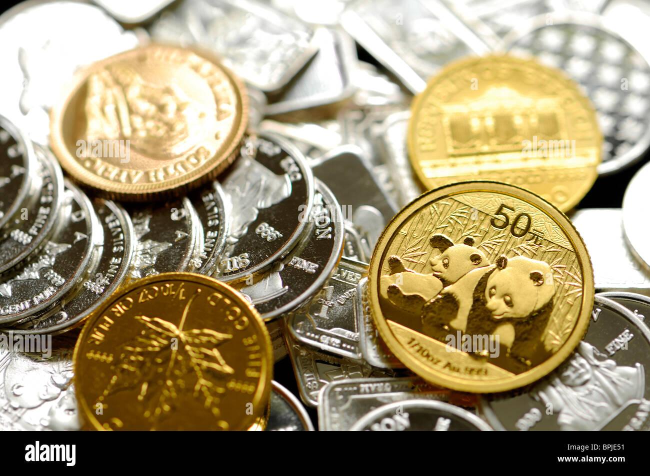 Gold Und Silber Barren In Kleinen Münzen 1g Silber Runden Und 10