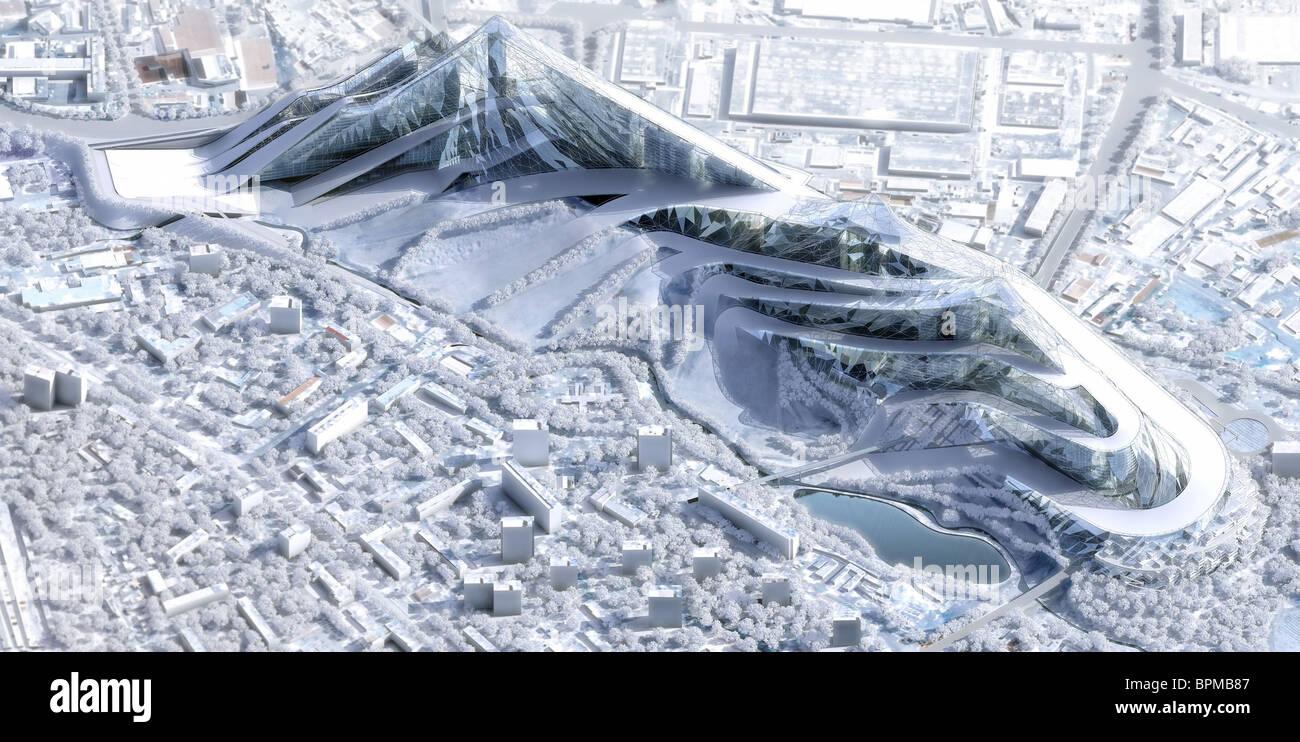 Computer-generierte Bilder der geplanten Ice-Park alle Saison-Sportzentrum Stockbild