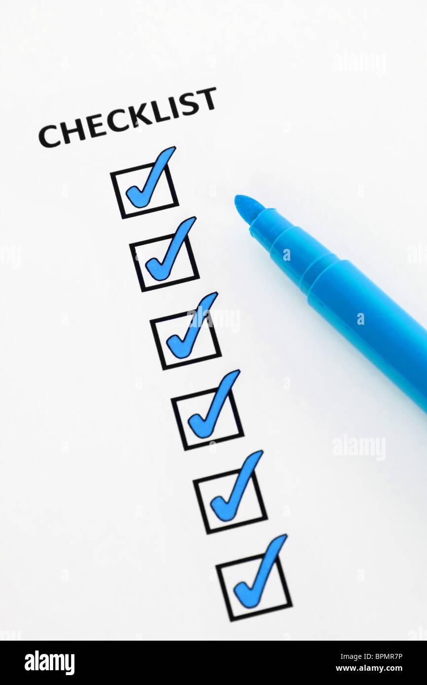 Blau-Checkliste Stockbild