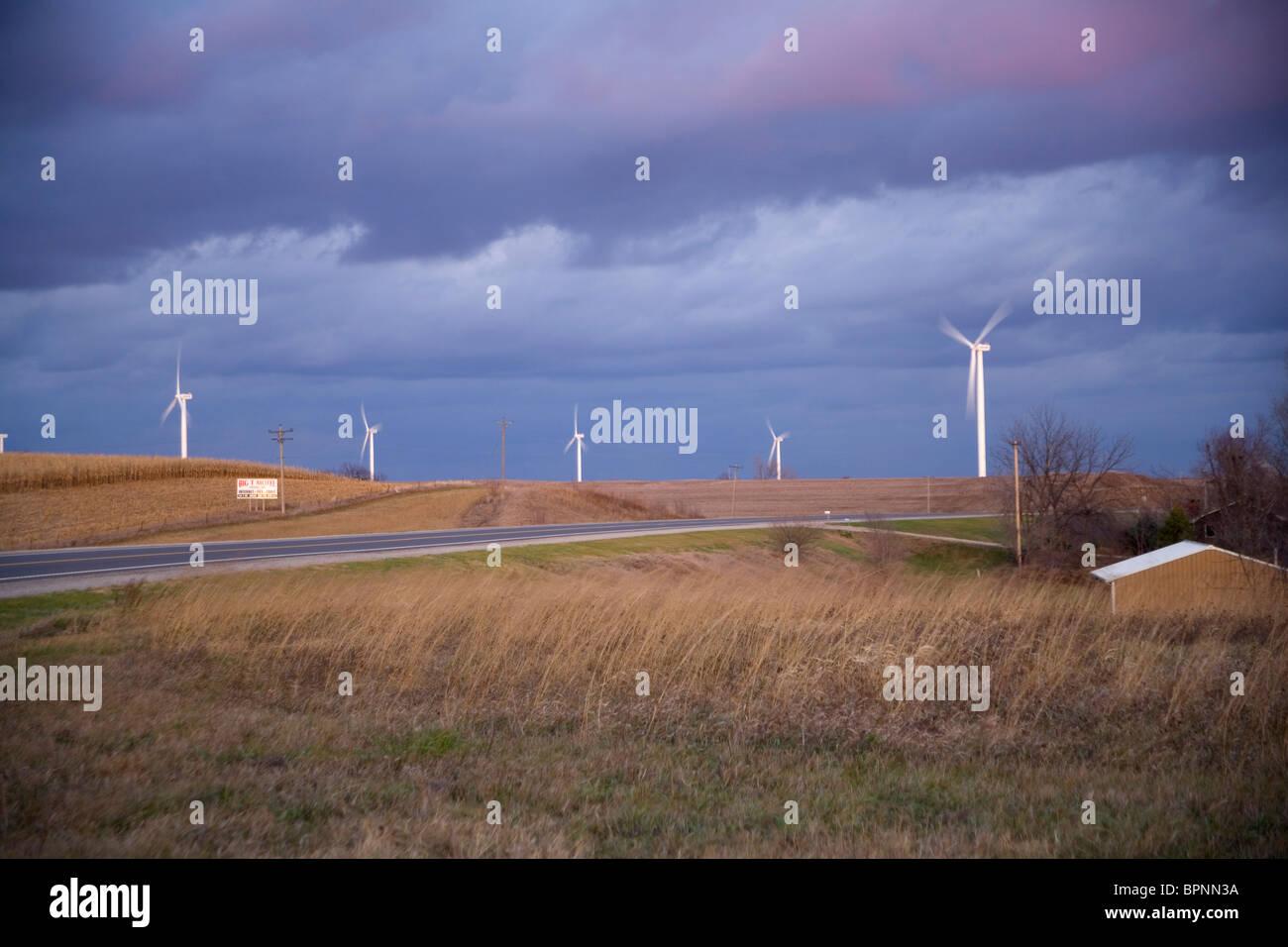 Kuh-Zweig-Windpark in Tarkio, Missouri Stockbild