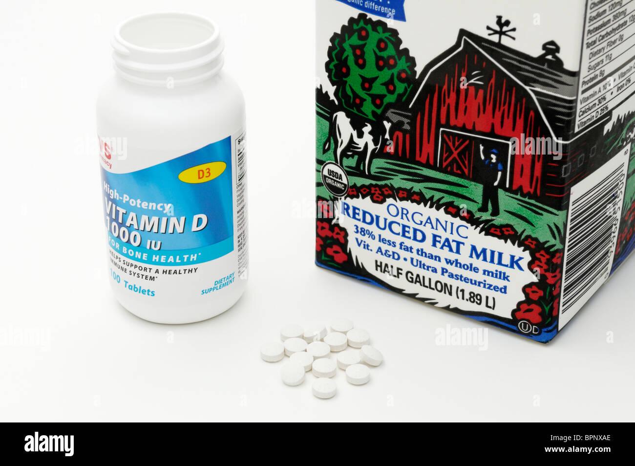 Quellen für Vitamin D sind Milch und Ergänzungen. Stockbild