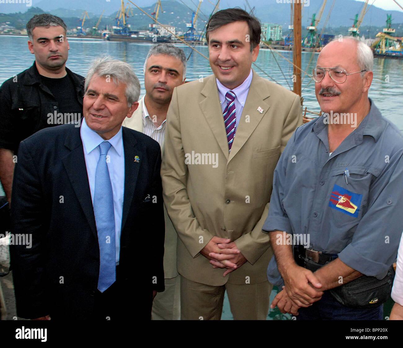 Kopie des legendären Argo Schiff mit neuen Argonauten tritt an Bord Hafenstadt Batumi Stockbild