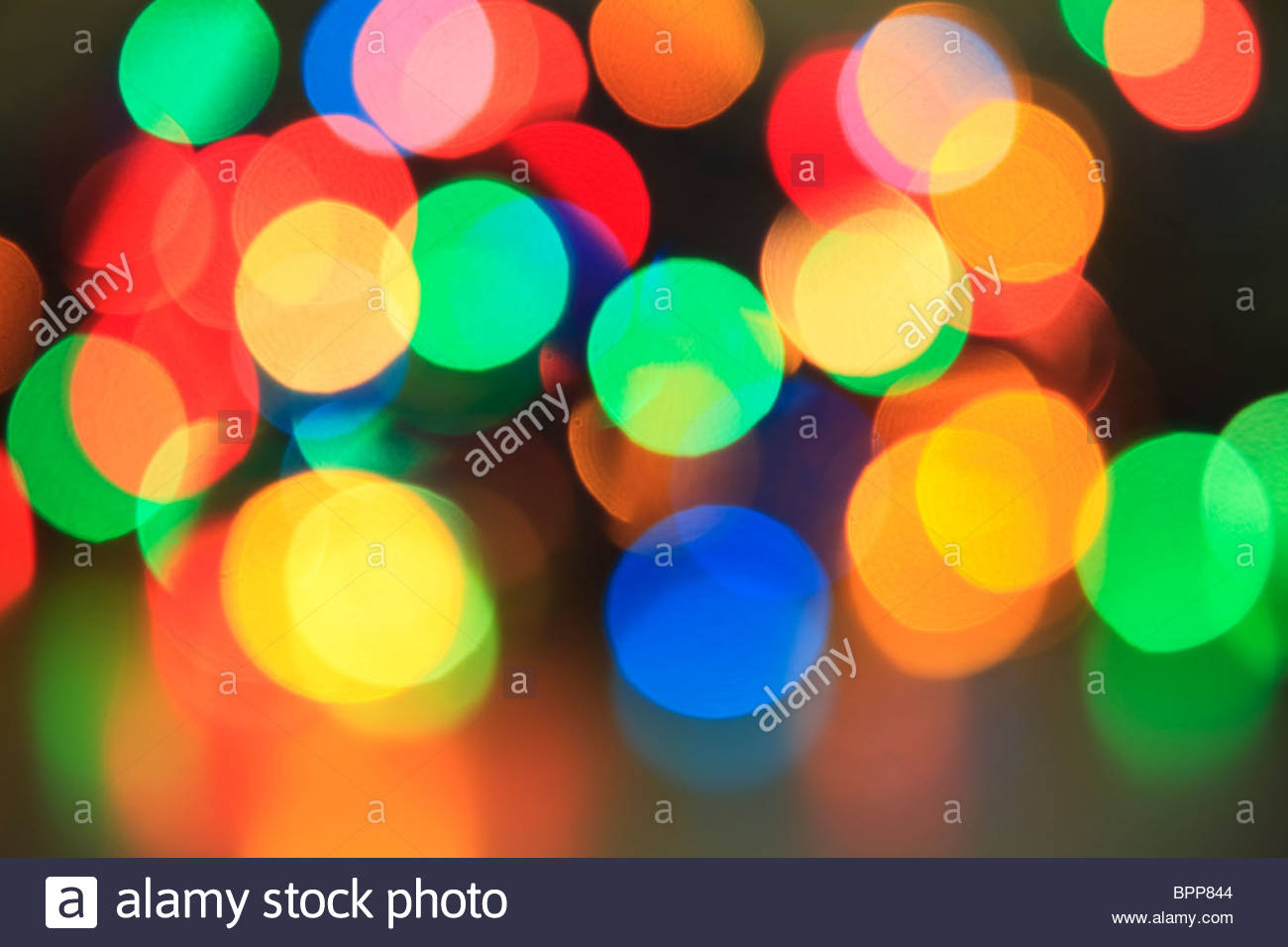 Aus Fokus Weihnachtsbeleuchtung Stockbild