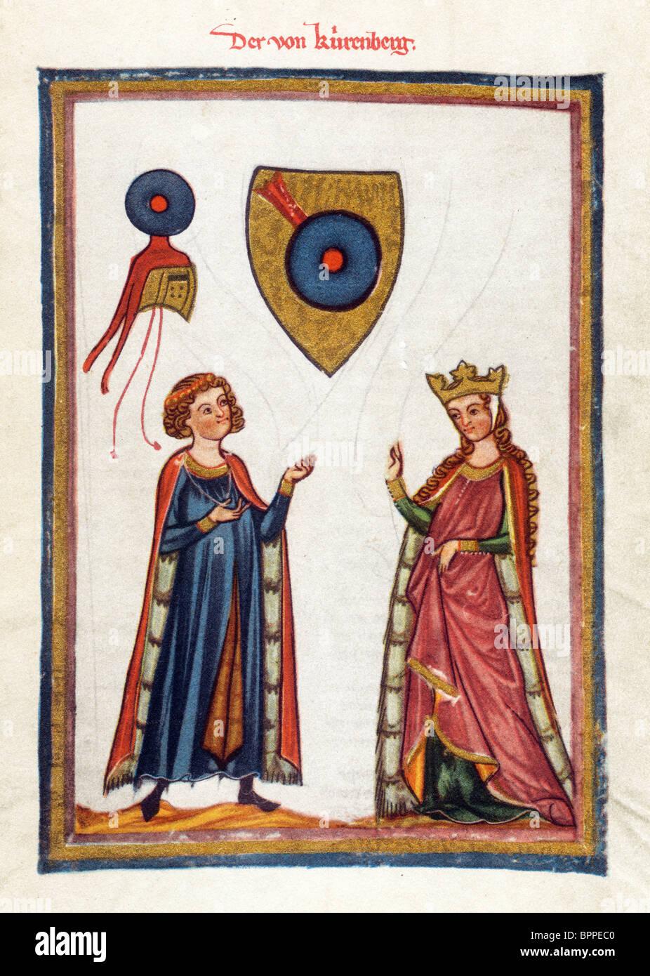 Beleuchtung aus dem 14. Jahrhundert Codex Manesse; Österreichische Dichter Der Von Kürenberg Stockbild