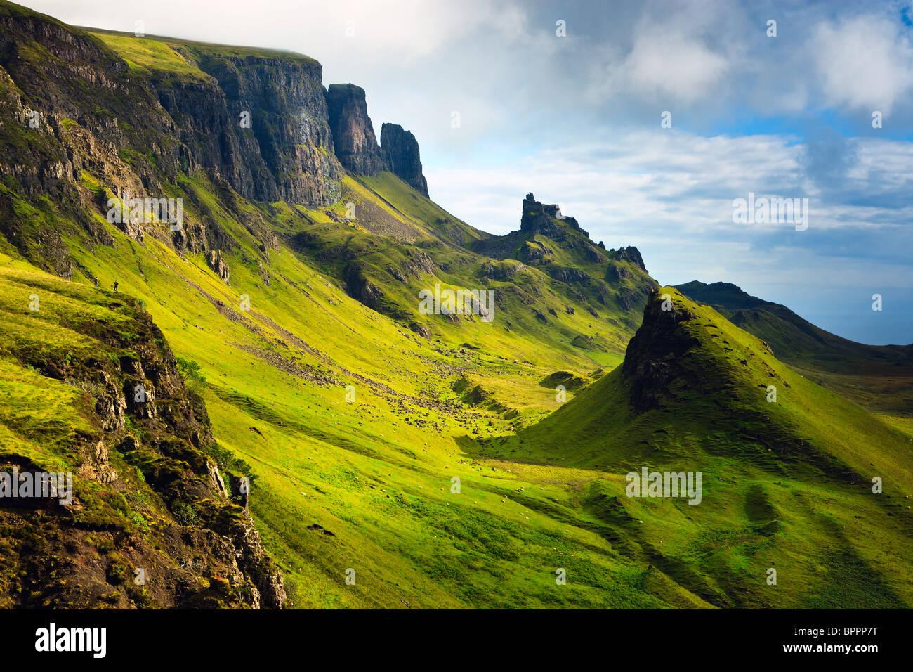 Blick auf das Quiraing, Isle of Skye, Schottland Stockbild
