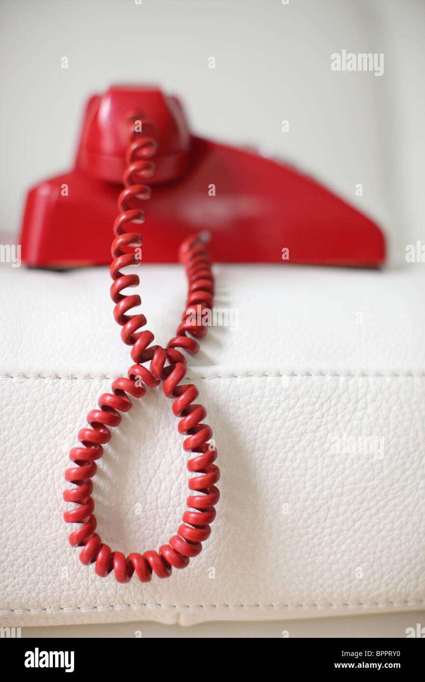 Rote retro Telefon Stockbild
