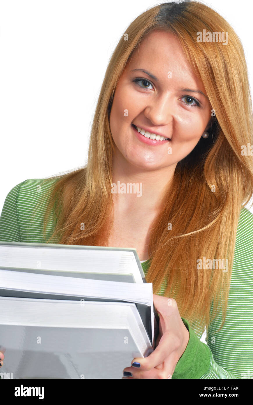 Porträt eines schönen jungen weiblichen Studenten mit Büchern Stockbild