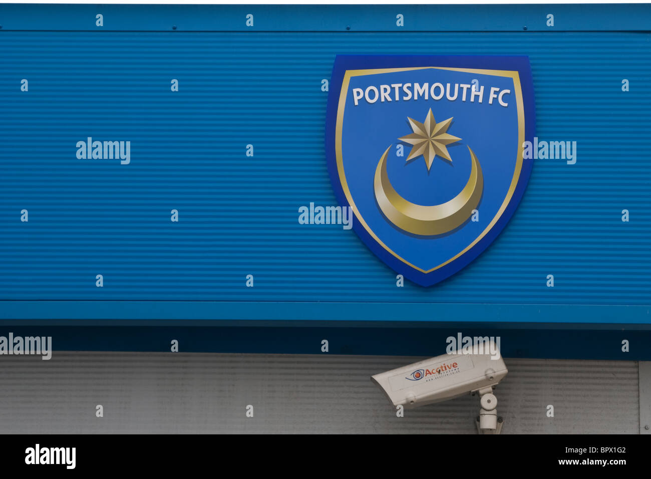 Portsmouth Fußball Club Logo Zeichen Motiv Stockfoto Bild