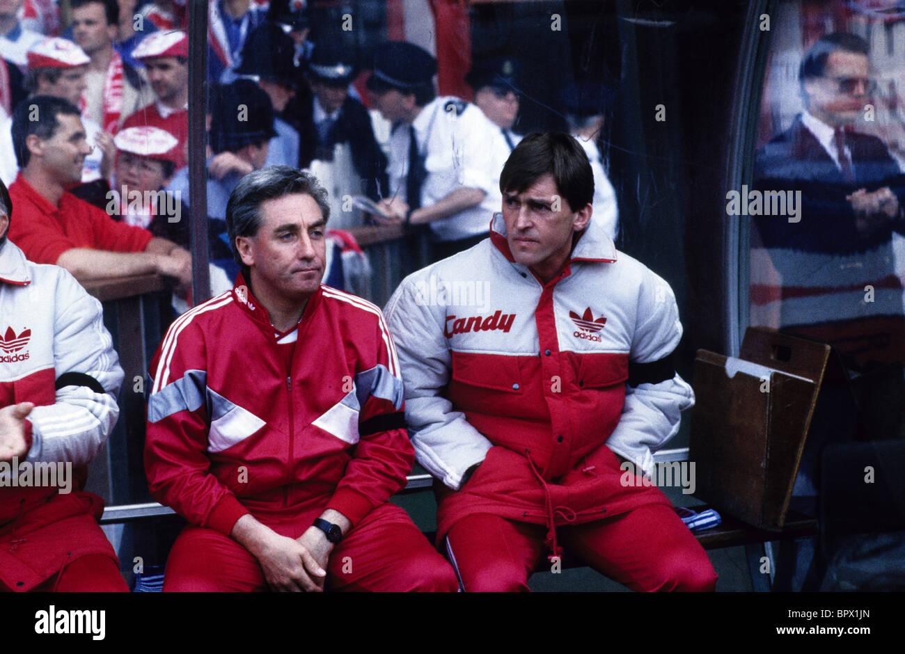 Kenny Dalglish und Roy Evans 1989 FA-Cup Halbfinale Wiedergabe zwischen Liverpool und Nottingham Forest nach Hillsborough Stockbild