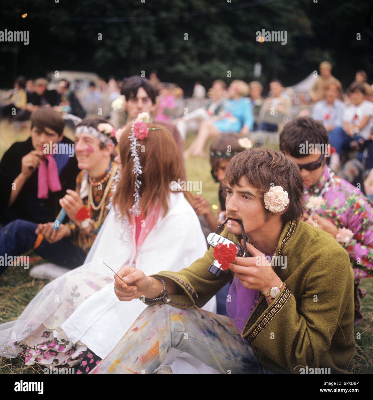 Hippie in London, 1967 Stockbild
