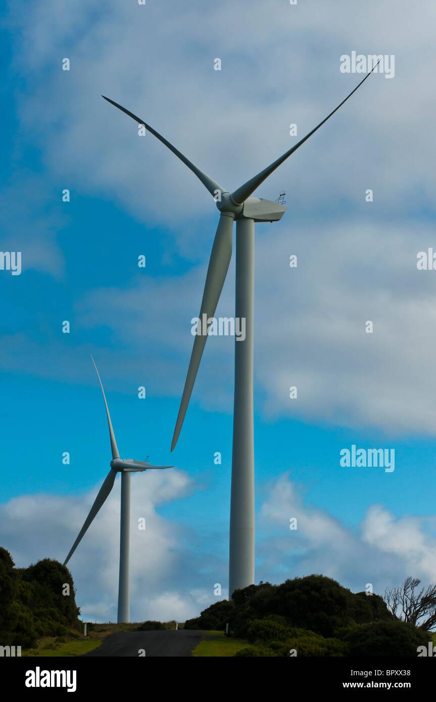 Windenergieanlagen im Windpark in der Nähe von Portland in Victoria Australien Stockbild