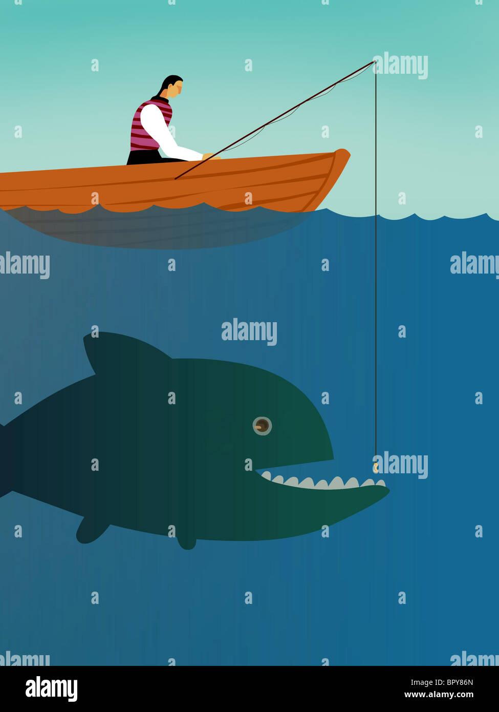 Ein Geschäftsmann auf einem Boot versucht, einen großen Fisch zu fangen Stockbild